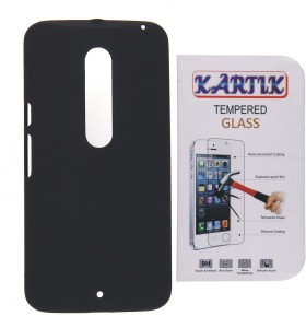 Kartik Rubberized Hard Back Cover For Motorola Moto X Play With Tempered Glass Accessory Combo