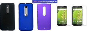 Foneys Set of 3 Back cover BLACK , BLUE , PURPLE with 2 Clear HD Screen guard for Moto X Play Accessory Combo