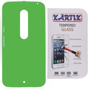 san francisco 163ca 6ee7e Kartik Rubberized Hard Back Cover For Motorola Moto X Play With Tempered  Glass Accessory ComboGreen