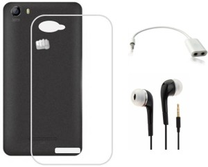 new concept 84f4d 7f8d6 Tidel Silicon TPU Transparent Soft Back Cover For Micromax Bolt Q338 With  3.5mm Handsfree Earphone & Audio Spliter Accessory ComboTransparent