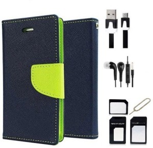 Edge Plus Micromax Canvas Nitro A310 Wallet Case,Datacable,Earphones,Sim Card Adapter Accessory Combo