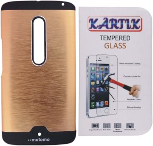 Kartik Motomo Back Cover for Motorola Moto X Play With Tempered Glass Accessory Combo