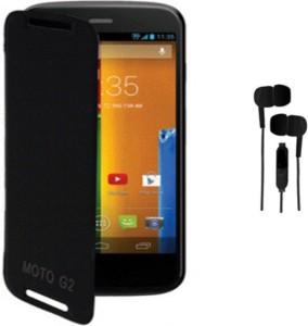 Tidel Flip Cover Case For Moto G 2nd Gen XT1068 &free 3.5mm Stereo Earphones Accessory Combo