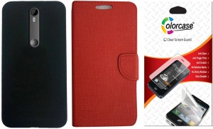 Colorcase Flip Cover Case for Motorola Moto X Play with Back Cover Case & 1 Screenguard Accessory Combo