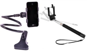 TRENDONIX Selfie Stick (Aux) + Lazy Bed Snake Mobile Stand Accessory Combo