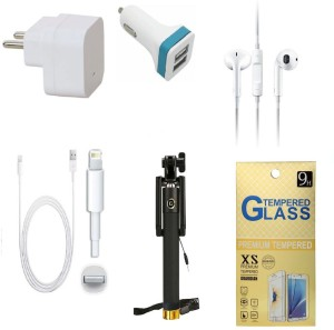 Kart4Smart Wall Charger Accessory Combo for Apple Iphone 5SWhite, Black
