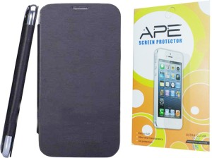 best loved 44395 9dec4 Ape Flip Cover & Screen Guard for MicroMax Bolt A24 Accessory ComboBlack