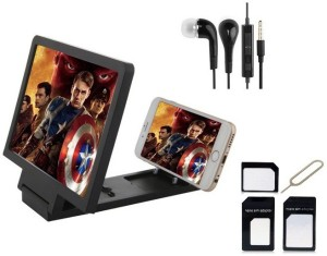 Edge Plus Mobile 3D Enlarged screen,EARPHONES AND SIM CARD ADAPTER Accessory Combo