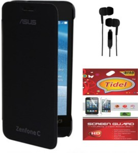 sports shoes 2f7d0 26eaf Tidel Flip Cover For Asus Zenfone C Zc451cg With 3.5mm Stereo Earphones  &Screen Guard Accessory ComboBlack