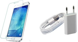 SYL COMBO OF charger AND tempered glass FOR SAMSUNG GALAXY ALPHA-WHITE Accessory Combo