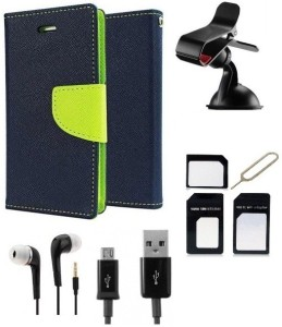 Edge Plus Samsung Galaxy J7 Wallet Case,Mobile Stand,Sim Card Adapter ,data cable and earphones Accessory Combo