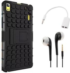 Tidel Hybrid Military Grade Armor Kick Stand Back Cover Case for Lenovo K3 Note (Black) With 3.5mm Handsfree Earphone & Audio Spliter Accessory Combo