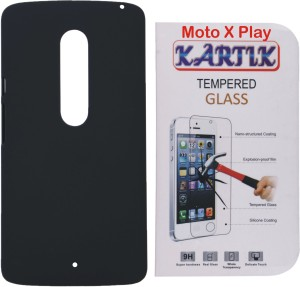 Kartik Rubberized Hard Back Cover For Moto X Play With Tempered Glass Accessory Combo