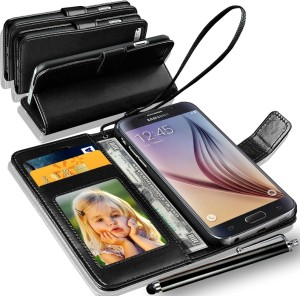 huge selection of 46b1f 8ae2b N+ India Samsung Galaxy S6 EDGE Plus Wallet Case Cover With Touch Stylus  Pen Black Accessory ComboBlack