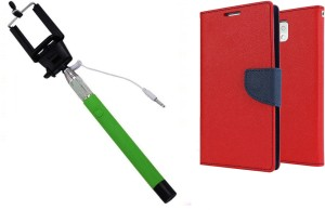 Ape Diary Cover and Aux Selfie Stick for Xiaomi Redmi Note 4G Accessory Combo