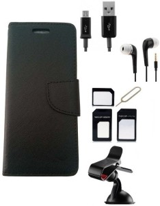 Edge Plus Micromax Canvas Nitro A310 Wallet Case,Mobile Stand,Sim Card Adapter ,Data Cable And Earphones Accessory Combo
