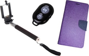 Ape Diary Cover and Selfie Stick for Samsung Galaxy Grand Prime G530 Accessory Combo