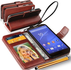 buy popular a258a 5958a GBOS Sony Xperia Z3 Compact Wallet Case With Stylus Pen Brown Accessory  ComboBrown