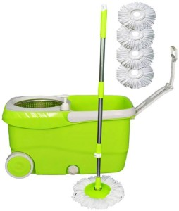 Cherrylite Cleanwell Steel Spin Green Bucket With Wheels and Extra 4 Mop Refills Mop Set