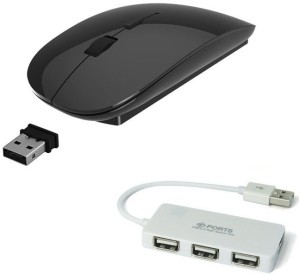 ROQ High Speed 4 port USB Hub With Ultra Slim Wireless Optical Mouse