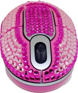 Shrih Pink And White Crystal Rhinestone Wireless Optical Mouse