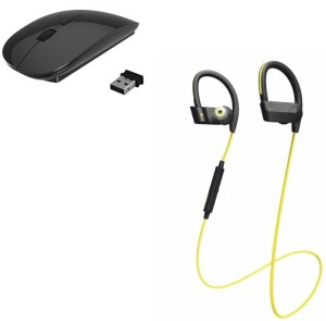 ROQ Wireless Bluetooth Headset With Mic With Ultra Slim Wireless Wireless Optical  Gaming Mouse