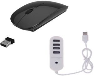ROQ High Speed Ultra Slim Mouse With 4 port 1 TB USB Hub Wireless Optical Mouse