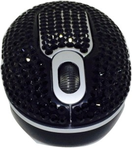 Shrih Black Crystal Rhinestone Wireless Optical Mouse