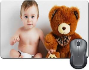 ShopMantra Cute Baby Boy with Teddy Bear Mousepad