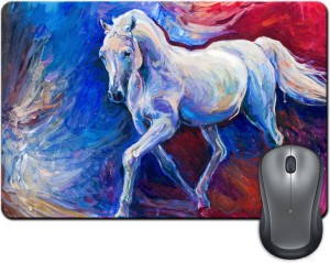 ShopMantra White Horse Brush Painting Mousepad