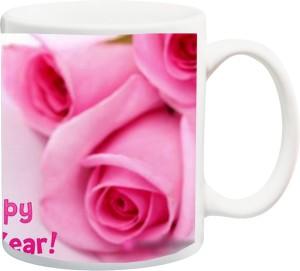 izor new year gifts wishes 12 month of hapiness beautiful rose printed ceramic mug325 ml