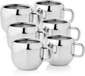Raj Double wall Steel Appel Tea Cup set of 6 Stainless Steel Mug100 ml,  Pack of 6