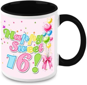Homesogood Sixteen Birthday Cake Ceramic Mug 325 Ml Pack Of 2 Best