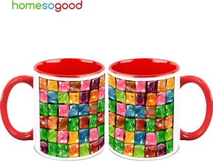 HomeSoGood Colorful Ice-cubes Ceramic Mug