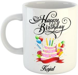 Huppme Happy Birthday Kajal White 350 Ml Ceramic Mug 350 Ml Best