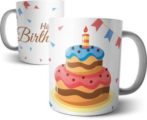 Chiraiyaa Happy Birthday With Cake And Papers Ceramic Mug