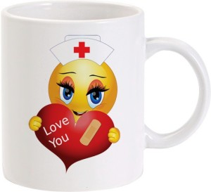 Lolprint Love you Healed Heart Girl Smiley Ceramic Mug