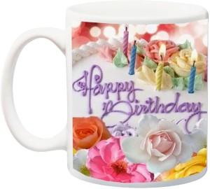 IZOR Happy Birthday Cake With Candle Ceramic Mug