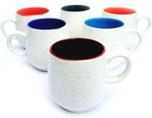 Toygully White Matt Finish Tea Cup Set 6 Multicolor Pack Of 6 Best