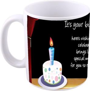 MS Happy Birthday Cake Gift Ceramic Mug 350 Ml