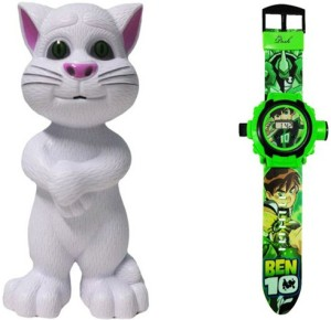 Aquaras White Talking Tom Cat And Ben10 Watch Multicolor Best Price