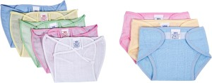 Baby Joy New Just Born Cloth Nadi & Velcro Washable Reusable Cotton Diaper/Langot Cushioned Padded Nappies Mini (0-3 months)