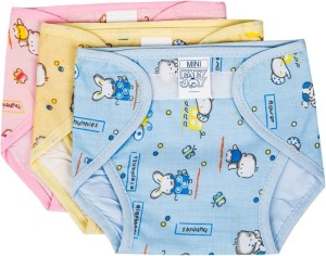 Baby Joy Just Born Inside Non Toxic Plastic Outside Printed Cotton Diaper/Langot Cushioned Padded Nappies (0-3 Months)