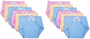 Baby Joy New Just Born Muslin Cotton Cloth Washable Reusable Padded Cushioned Diaper with Velcro Nappies (0-3Months)