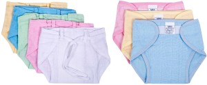 Baby Joy New Just Born Muslin Double Cloth Nadi & Velcro Washable Reusable Padded Cushioned Diaper/Langot Nappies Mini,(0-3months)