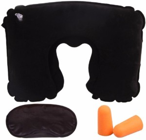 ShoppingKiSite [Travel Must-have] 3 in 1 Handy Travel Kit, Inflatable Neck Pillow for Sleeping & Rest + Comfortable Eye Mask + Soft Noise-Blocking Earplugs, Great for Long Journey on Plane, Train Neck Pillow & Eye Shade