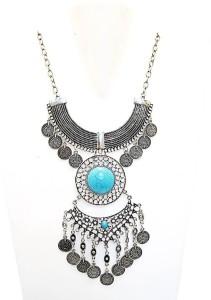 Muccasacra Turkish Necklace Boho Gypsy Style Alloy, Stone Necklace