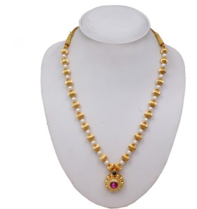3f92505139d65 Sushito Fancy Tarbuj Moti Haar Yellow Gold Plated Alloy Necklace