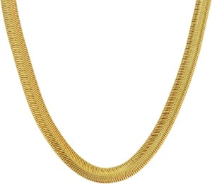 3a0cf7b9a2b03 Memoir Snake Design Flat Necklace 24K Yellow Gold Plated Brass Chain