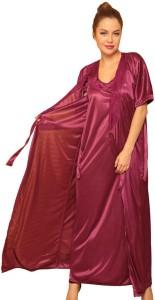 aea98b6b83 Clovia Women s Nighty with Robe Top and Capri Maroon Best Price in ...